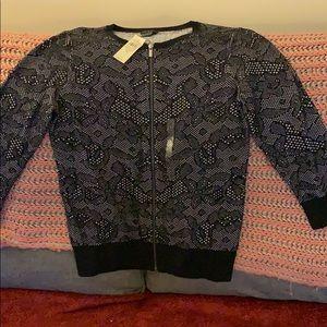 Ann Taylor black floral cardigan size medium